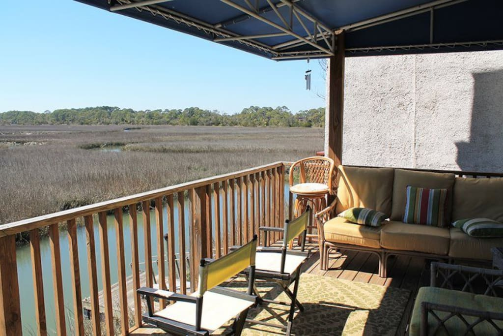 Panoramic Marsh Views from the Balcony off the Living Room