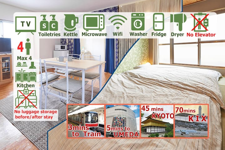 K5★Spacious 1LDK with Free WiFi-Long Term Rent OK