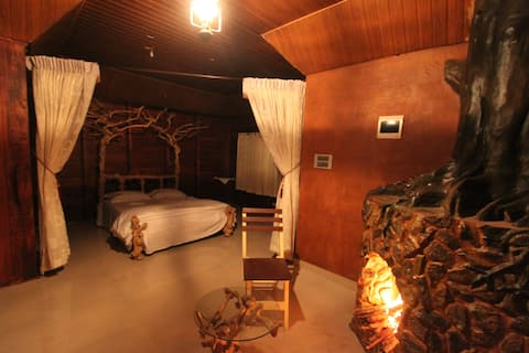 Pugmarks Wayanad Suite  fireplace &forest view