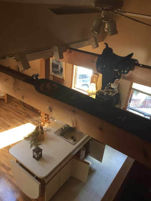 View of partly kitchen/living space from the loft