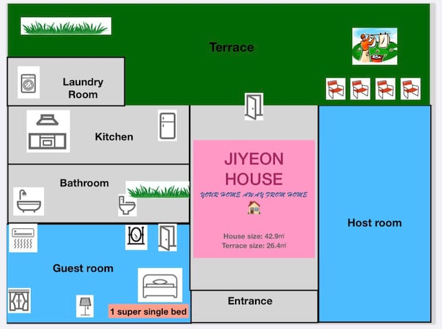 Itaewon Stn5min/terrace/TVintheroom/best matress!