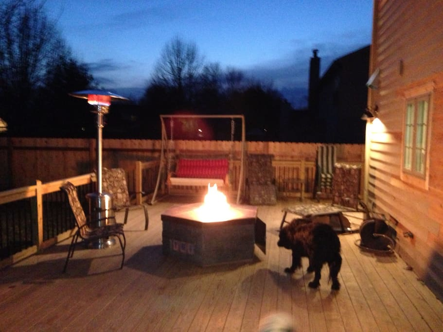 800 square foot deck with firepit