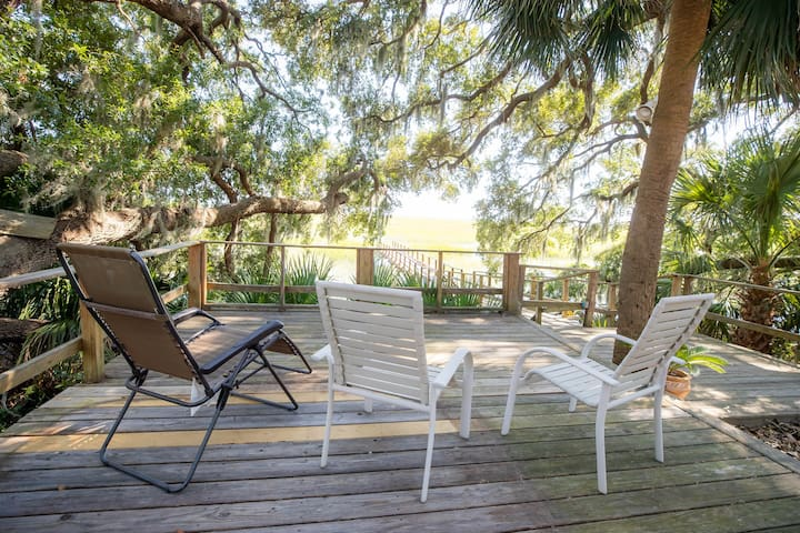 Sit under a canopy of 3 majestic LIVE OAK trees and enjoy the breeze coming of the Sound.