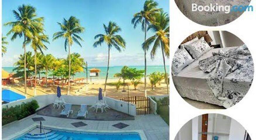 Hotel pé na areia, com piscina bar e restaurante