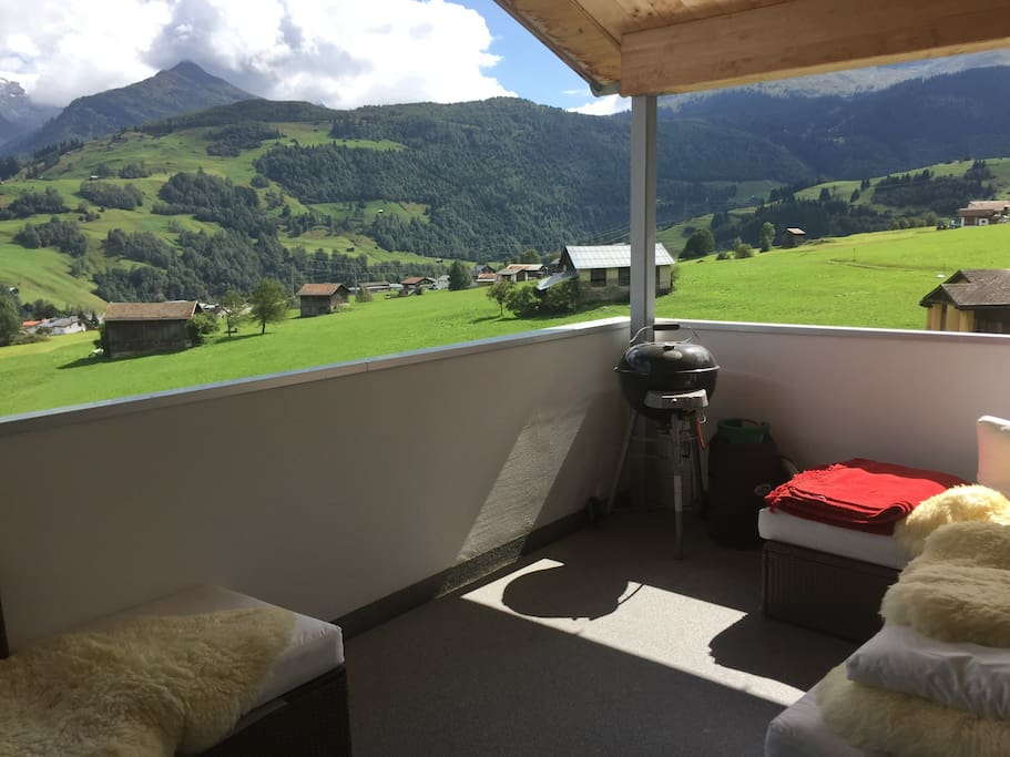 The spacious cozy balcony