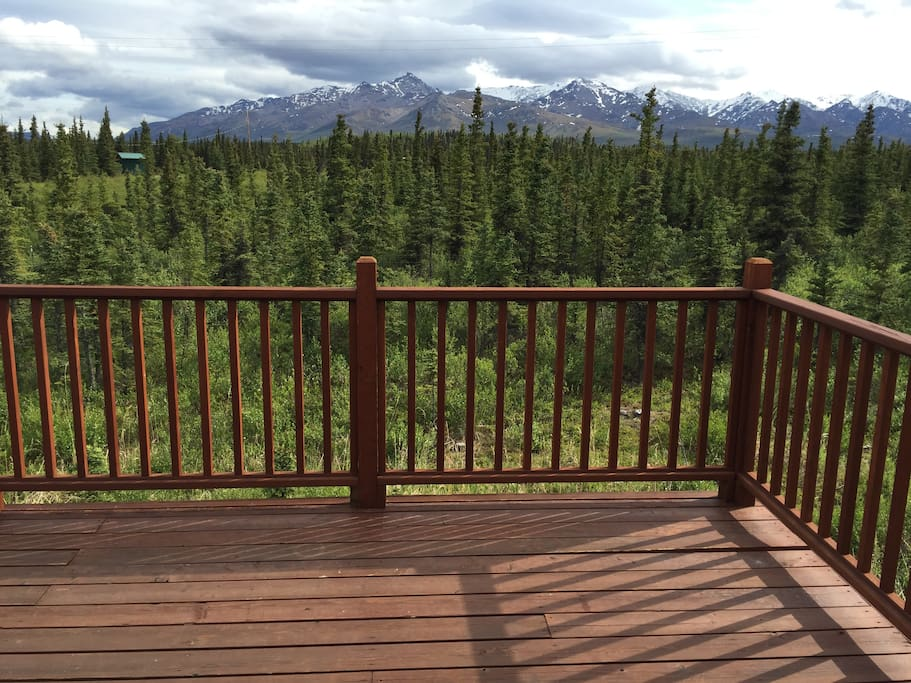View of the Alaska Range from the deck