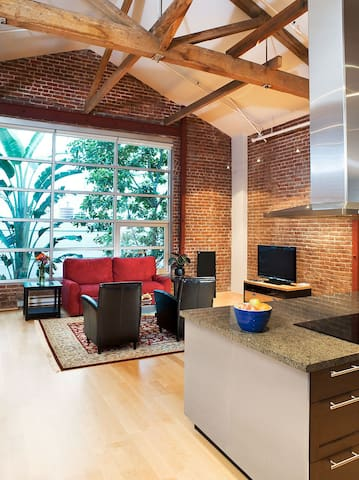 Historic brick loft, one block from waterfront