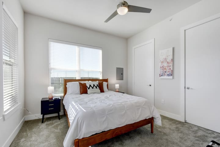Beautiful bedroom with super soft queen bed with pillow & top mattress