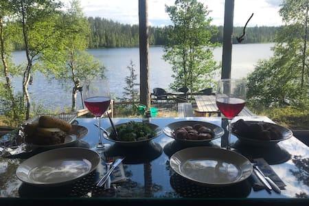 A beautiful lodge next to calm lake