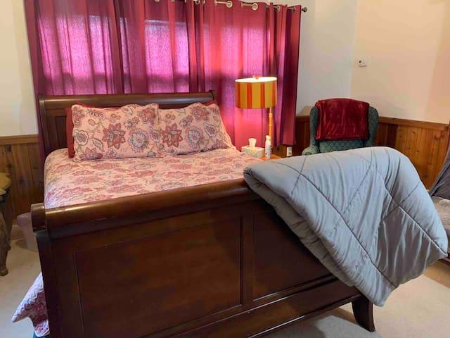 Queen bed in your private bedroom.
