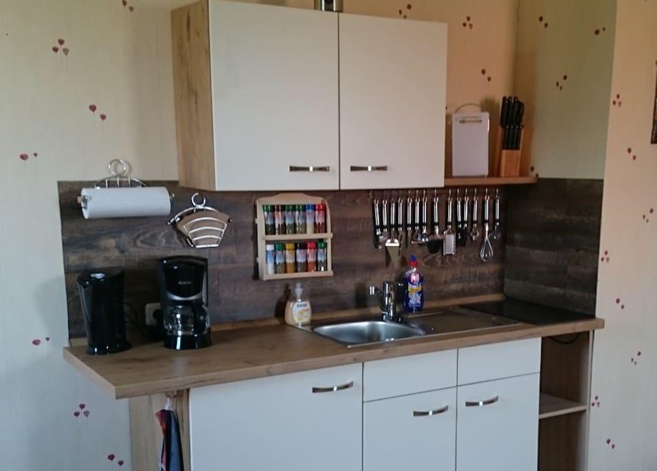 ... zwei Kochplatten, Kühlschrank und Geschirr