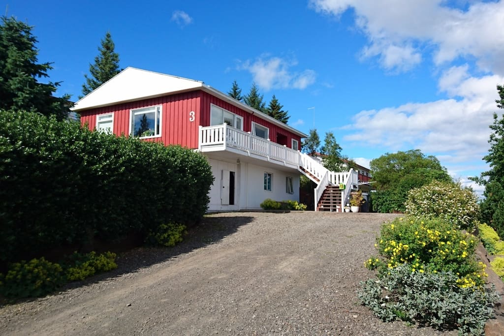 The house is located in a quiet area and has a fantastic view of Lake Lagarfljót.