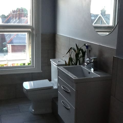 Shower room with toilet and basin to be shared between 2 double bedrooms.