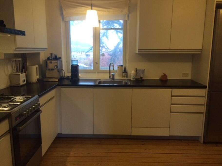 Roomy kitchen.