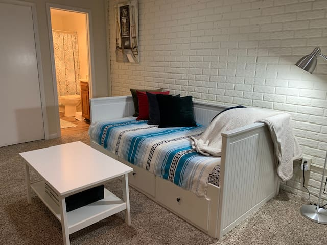 Day bed on the bottom floor can be converted to accommodate 2 twin mattresses. Additional king size air mattress, pack and play and toddler air mattress are available.