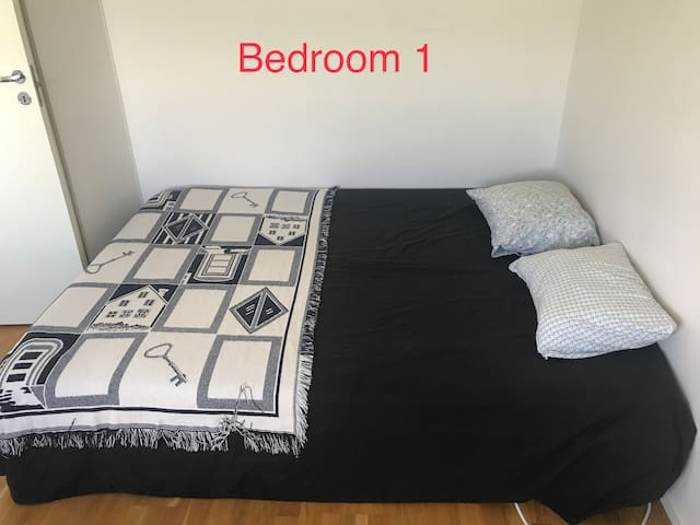 In the room number one you have this double bed, wardrobe and place for more.