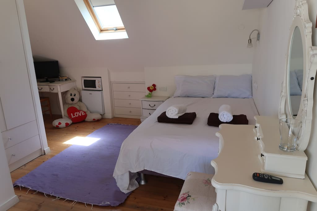 Spacious bed, lots of storage, micro, little fridge, and more
