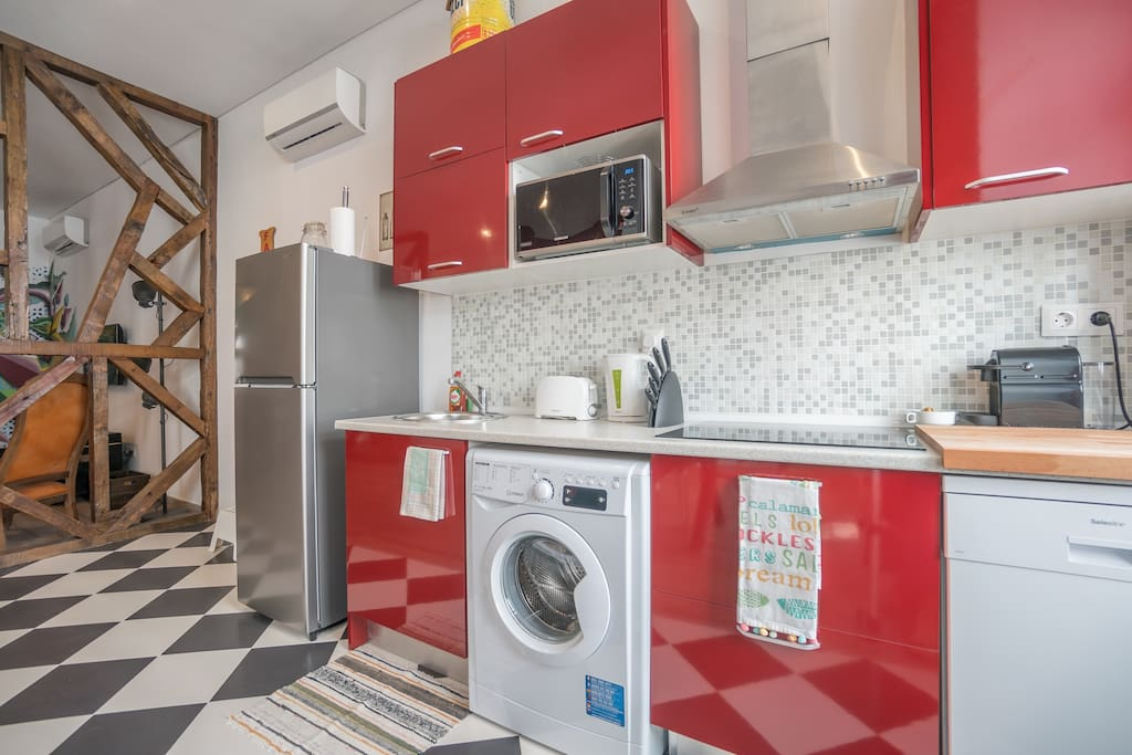 close up kitchen with microwave oven for nice home cooked meals