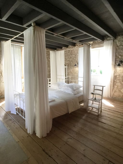 The white bedroom (25m2) is a romantic light filled bedroom.