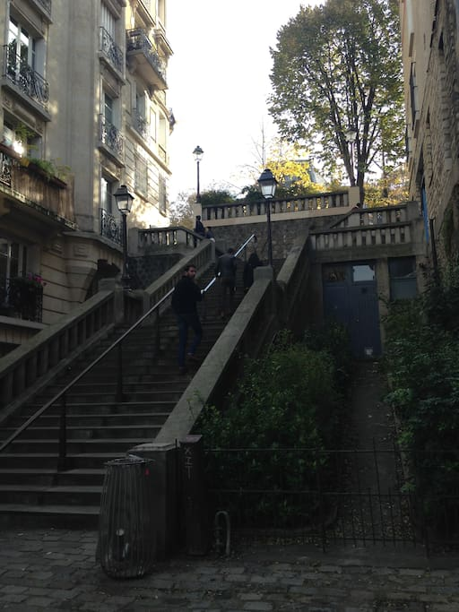 Les escaliers direction la Butte Montmartre