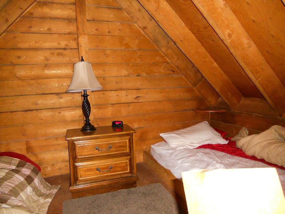 A loft bedroom.