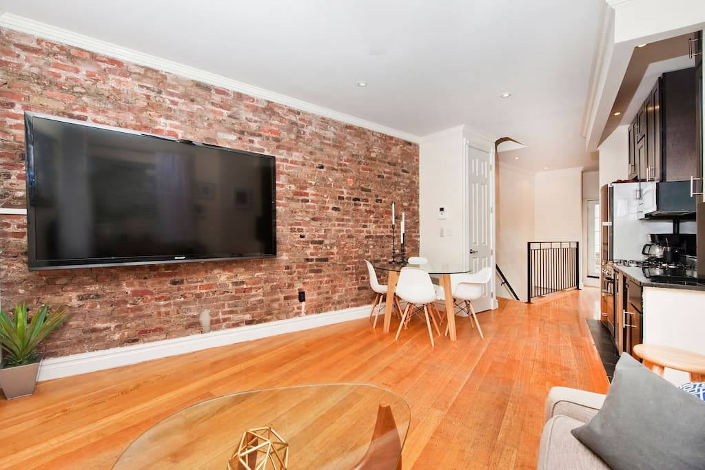 Welcome to your chic West Village apartment. Exposed brick, designer furniture, 80 inch Sharp Smart LED TV with Apple TV. Most importantly - an unbeatable location.