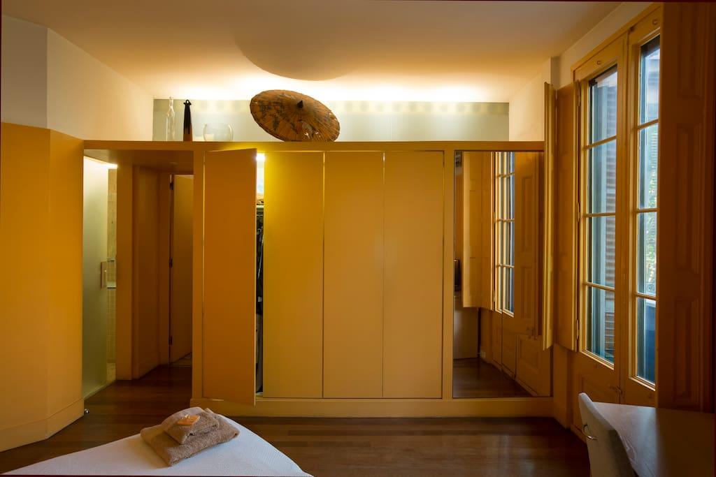 Closet and private balcony