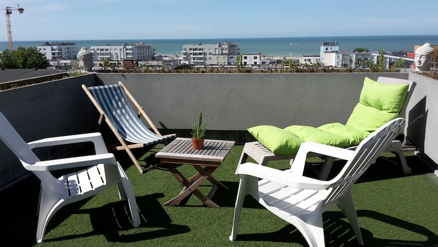 vue mer à 180° grand studio et terrasse penthouse