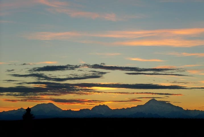 Sunset behind the Alaska Range.