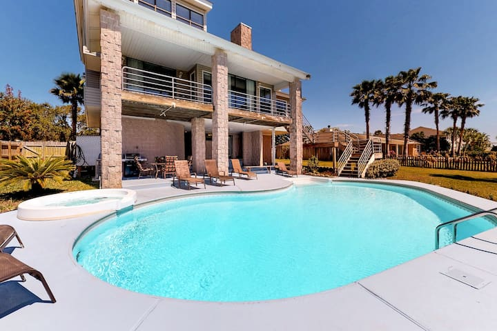 Upscale waterfront home w/ private pool, boat lift & covered patio!