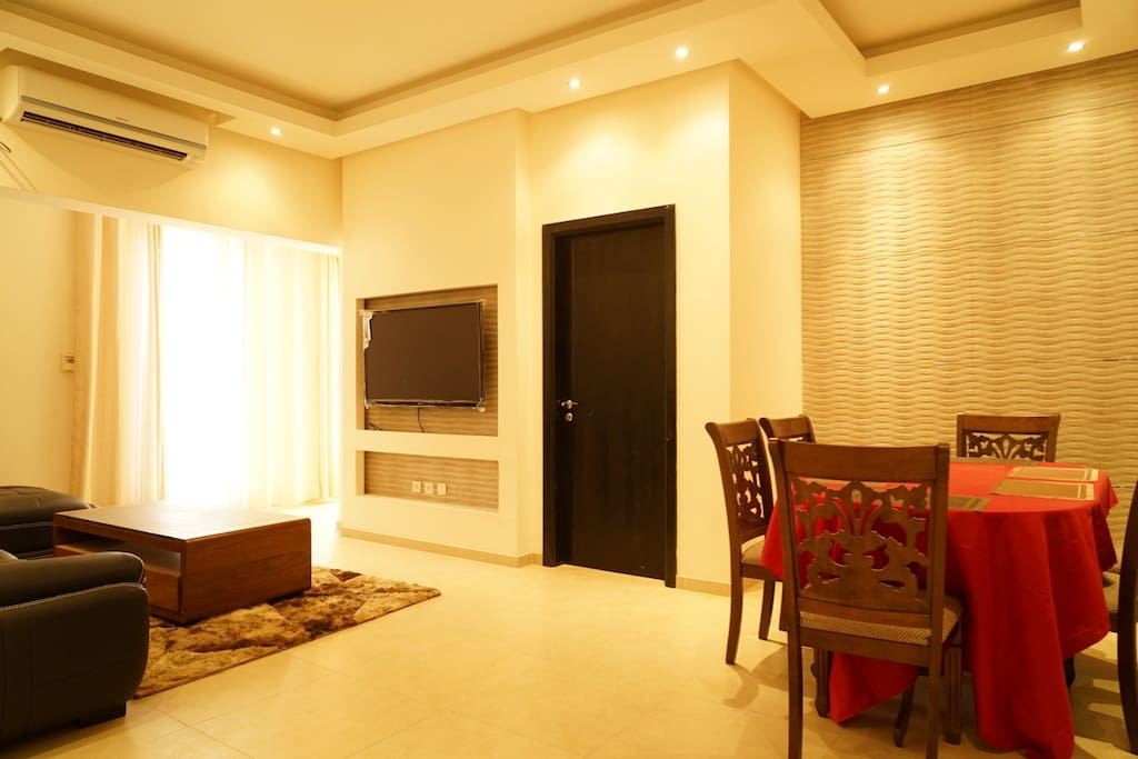 Brand new salon  furnitures , AC and big screen cabled TV.