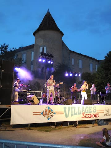 """Village Sessions"", organised by the Art Blakey Society.  For one week in July, we have live music in different villages.  These events are well attended and not to be missed!"