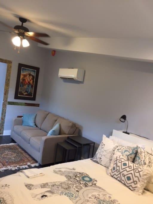 Studio space has Queen Bed and Full sofa bed