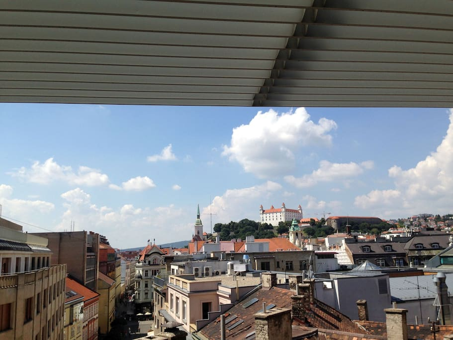 Beautiful view from balcony to Old Town with Laurinska Street and Bratislava Castle