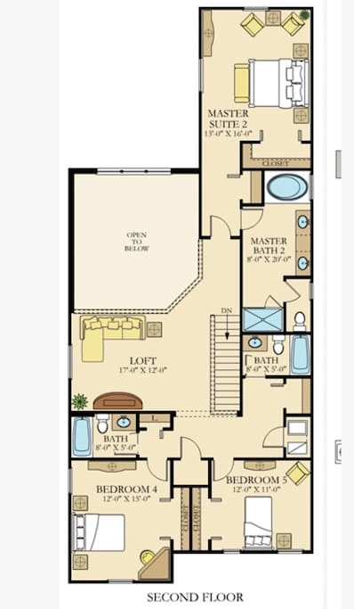 Second floor features one master bedroom, two children's bedrooms, three bathrooms, and a loft area to watch movies and play games.