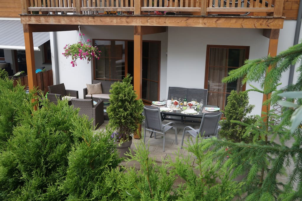 Terrace comfortable for 8 persons.Apartment is on first fllor
