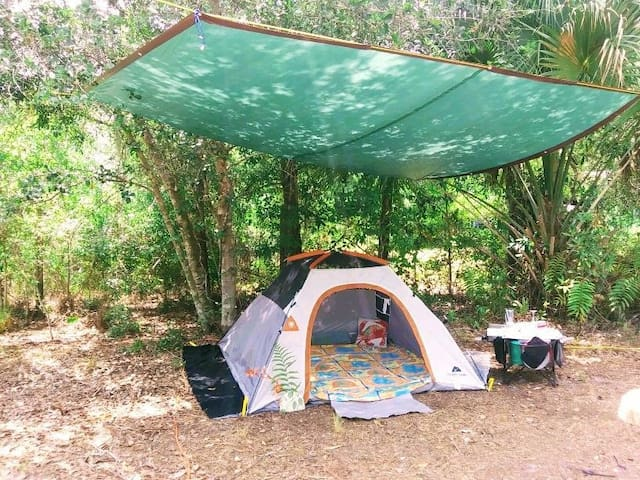 Ozark Trails Tent with Private Firepit
