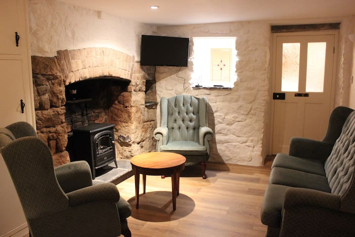 Sitting room with stove and traditional open fireplace