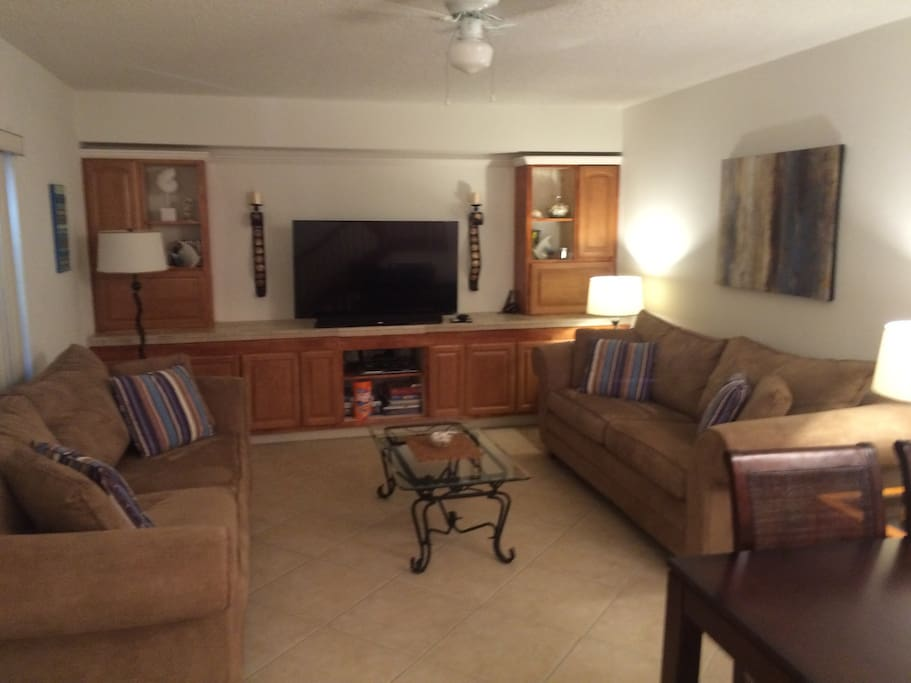 Comfortable living room with HD TV.