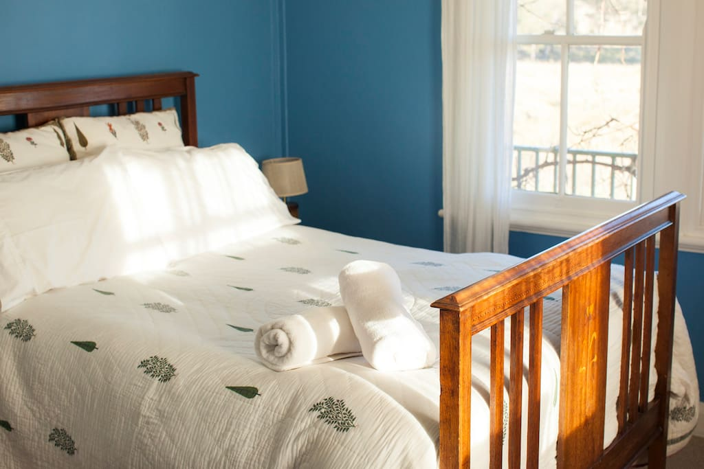 Blue Room with antique bed