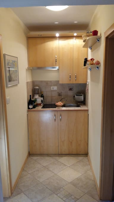 this is kitchen is small but have electrical quick two rings ,refrigerater ,napa