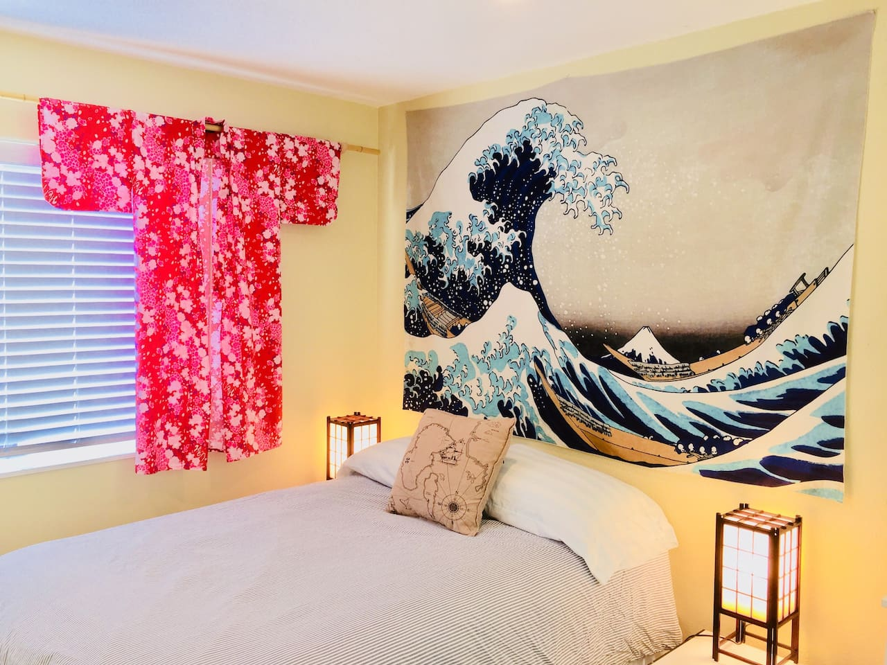 """The """"Nobu"""" Suite features a full size bed with fresh, designer linens"""