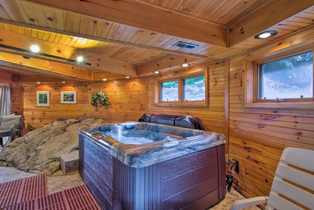 Soak in the hot tub to ease your aching muscles.