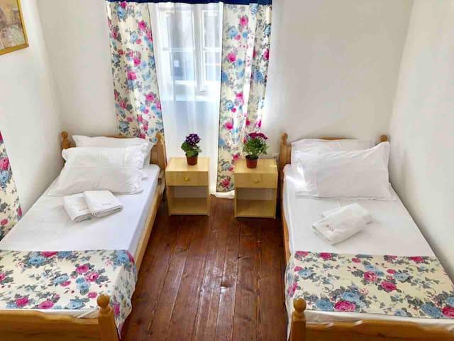 The room consists of 2 single beds, wardrobe, TV and mini-bar fridge.