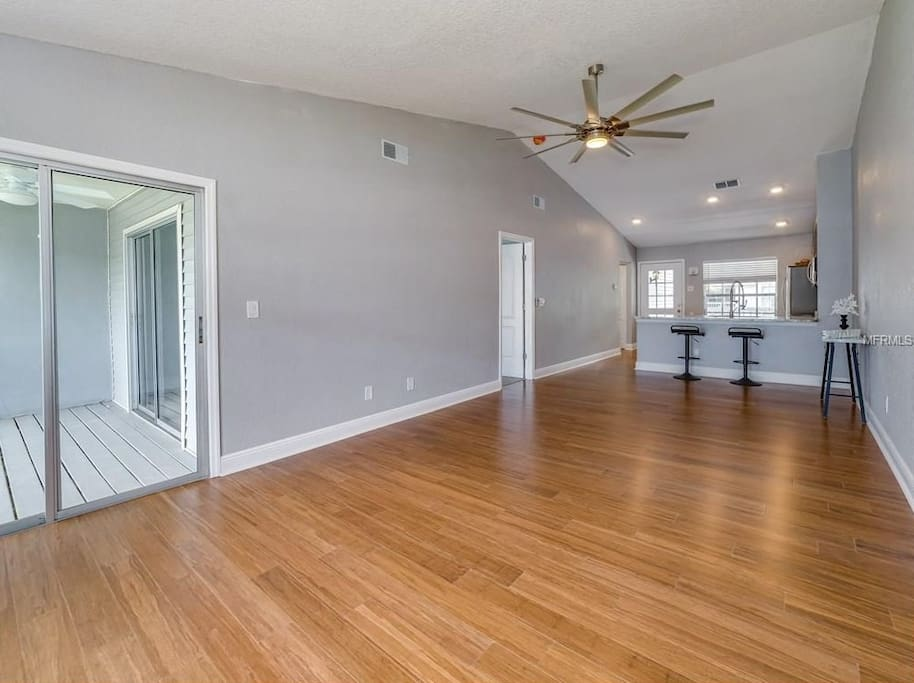 Spacious great room with patio access