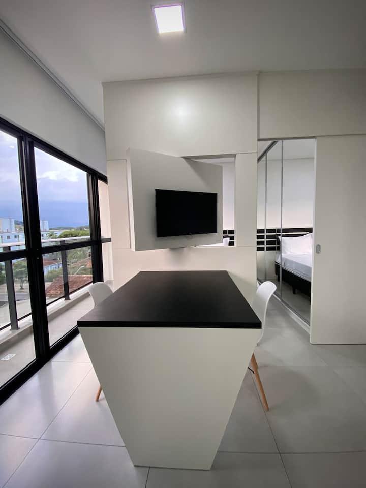 Apto exclusivo, cozinha, Ar, Smart tv