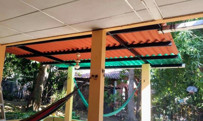 patio with hammocks