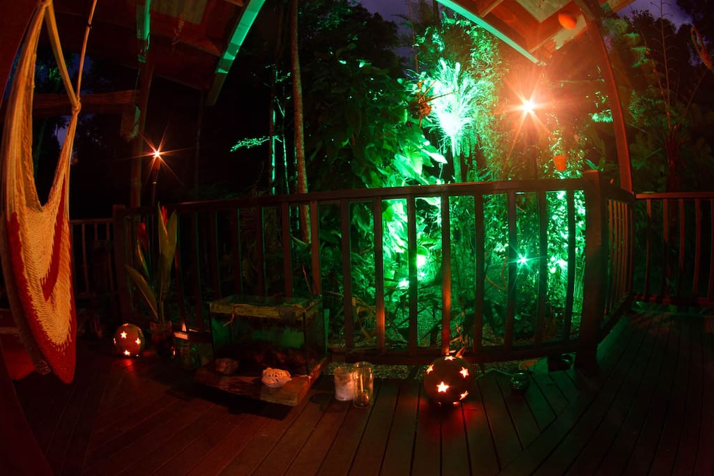 The candlelit deck by night