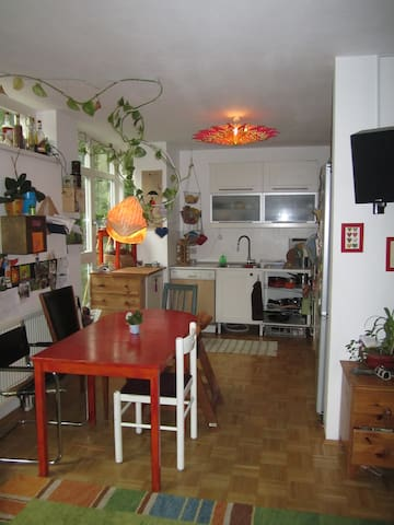 Kitchen with space for dinner.