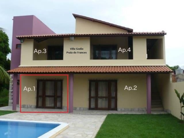 Apartamento em linda casa Praia do Frances App.n.1 - Marechal Deodoro - Departamento